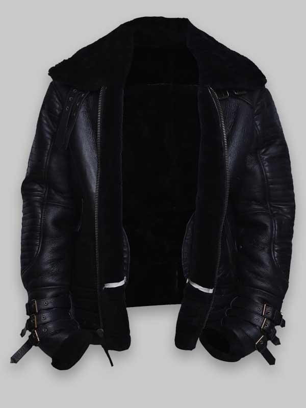 Black Shearling Sheepskin Men Biker Leather Jacket