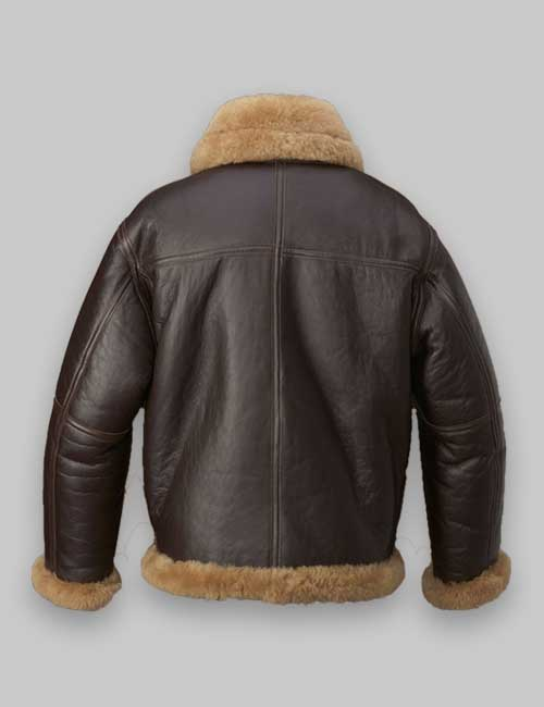 Flight Shealring Bomber Men Brown Leather Jacket