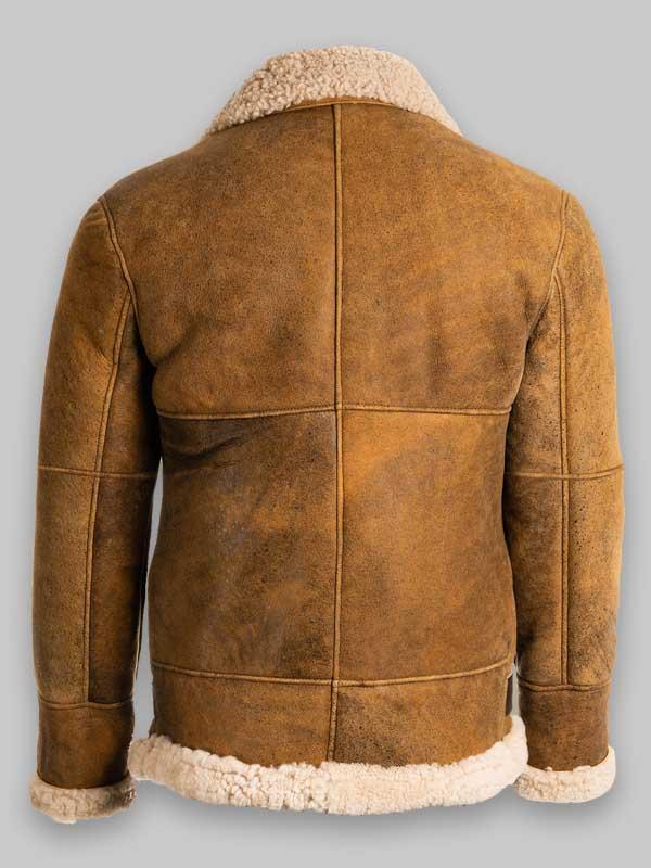 B3 Men Brown Shearling Leather Jacket