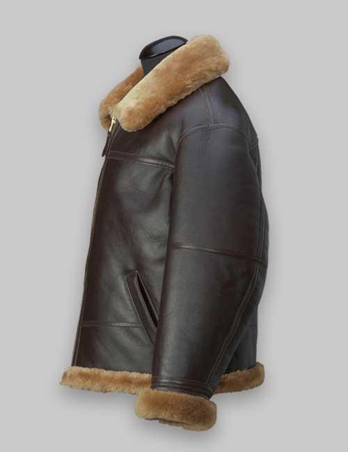 RAF Brown Shearling Jacket For Men