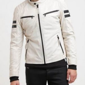 Men-Genuine-Lambskin-White-Retro-Motorcycle-Leather-Jacket