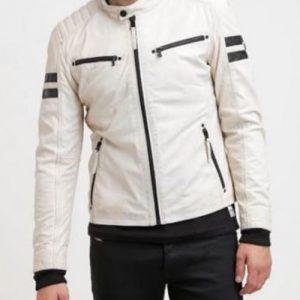 Men-Genuine-Lambskin-White-Retro-Motorcycle-Leather-Jacket
