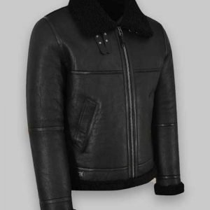Jet Black Real Sheepskin Shearling Leather Jacket for Men