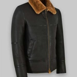 jordan craig black shearling leather jacket