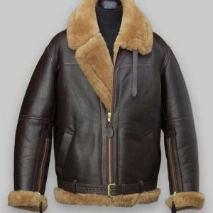 Men Bomber Brown Flight Shealring Leather Jacket