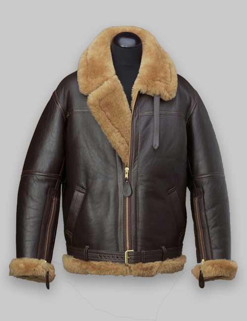 Men Bomber Brown Flight Shealring Leather Jacket