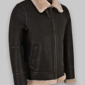 Men B3 Sheepskin Black Leather Jacket