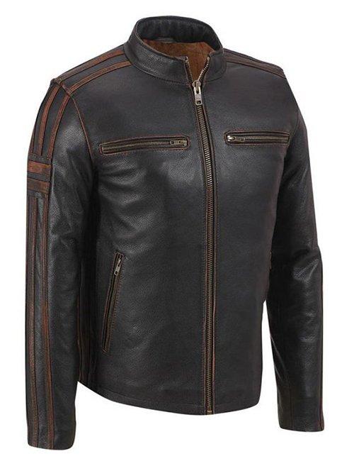 Mens Brown Stripe Café Racer Jacket