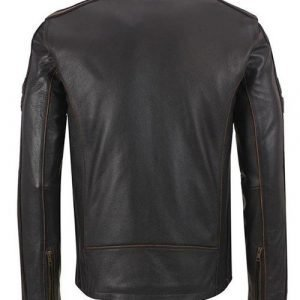Mens Brown Stripe Café Racer Jacket