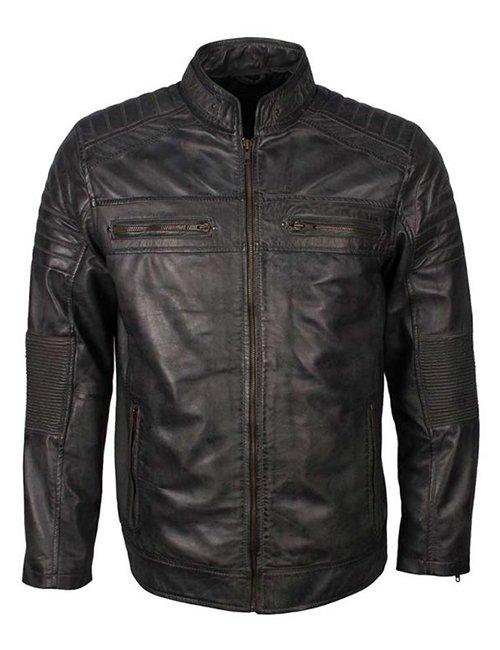 Mens Cafe Racer Grey Waxed Jacket