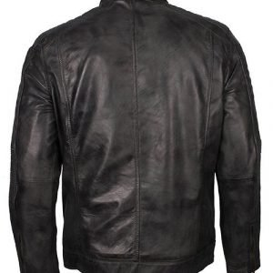 Mens Cafe Racer Grey Waxed Jacket
