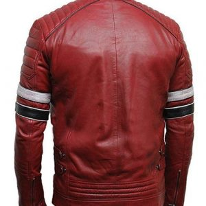 Mens Cafe Racer Red Striped Leather Jacket