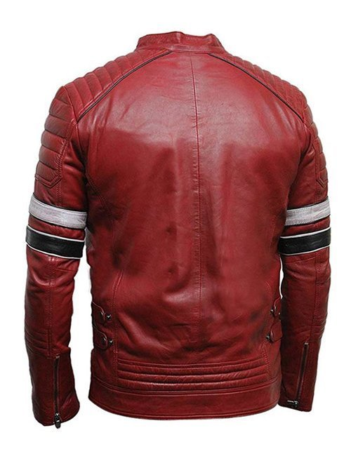 Mens Cafe Racer Red Striped Leather Jacket