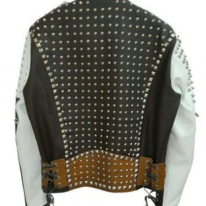 Mens Cafe Racer Studded Punk Motorcycle Leather Jacket