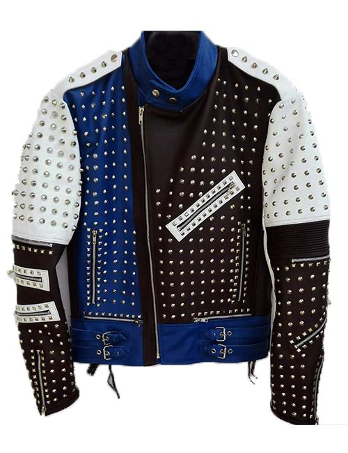 Mens Cafe Racer Studded Punk Motorcycle Leather Jacket