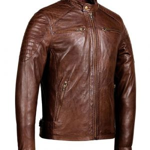 Men's Distressed Brown Cafe Racer Retro Motorcycle Jacket