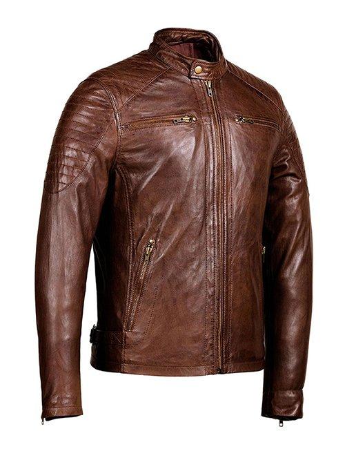 Men's Distressed Brown Cafe Racer Retro Motorcycle Jacket