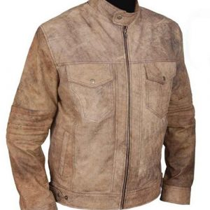 Mens Distressed Café Racer Biker Leather Jacket