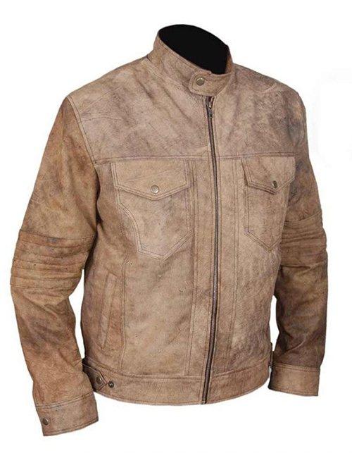 Mens Distressed Café Racer Biker Leather Jacket