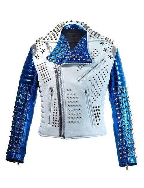 Mens Silver Studded Punk White & Blue Biker Jacket