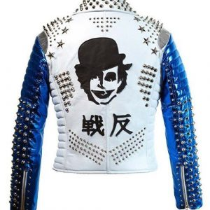 Mens Silver Studded Punk White & Blue Biker Jacket