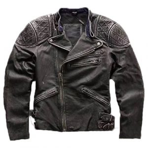 Mens Skull & Bones Distressed Black Vintage Biker Jacket