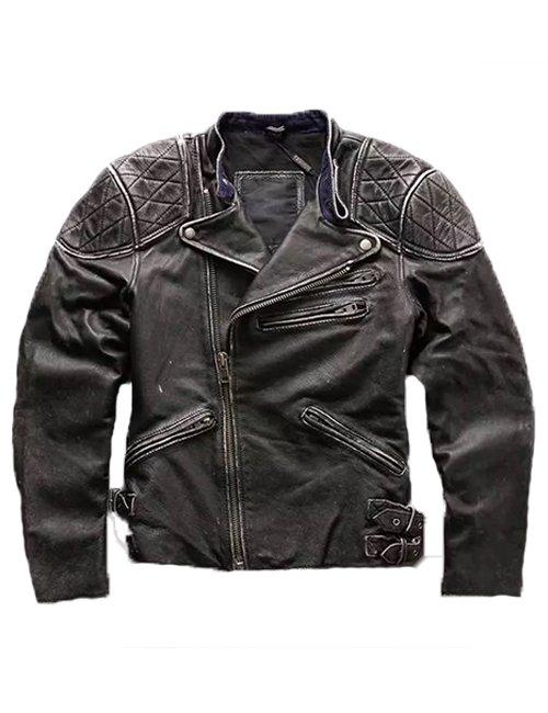 Mens Skull & Bones Distressed Black Vintage Biker Jacket