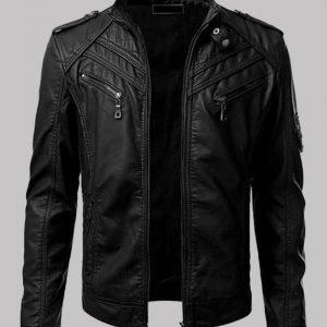 Mens-Slimfit-Black-Biker-Jacket