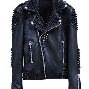 Mens Studded Punk Black Biker Leather Jacket