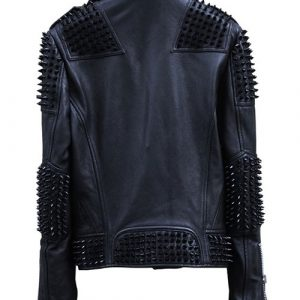 Mens Studded Punk Black Biker Leather Jacket