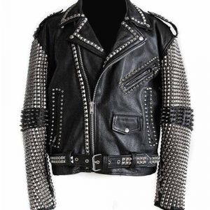 Mens-Studded-Punk-Black-Leather-Jacket