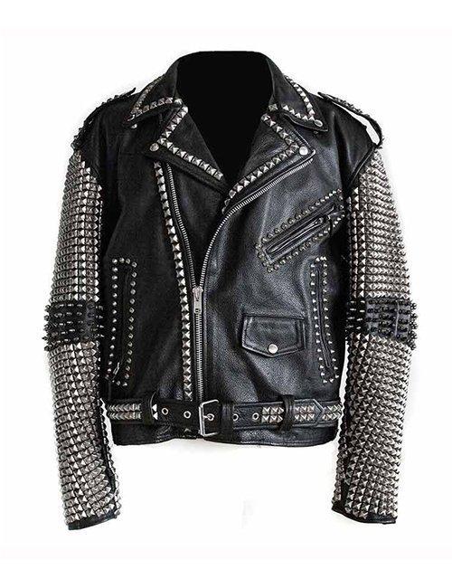 Mens-Studded-Punk-Black-Leather-Jacket