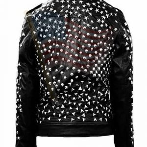 Mens Studded Punk Motorcylce Leather Jacket
