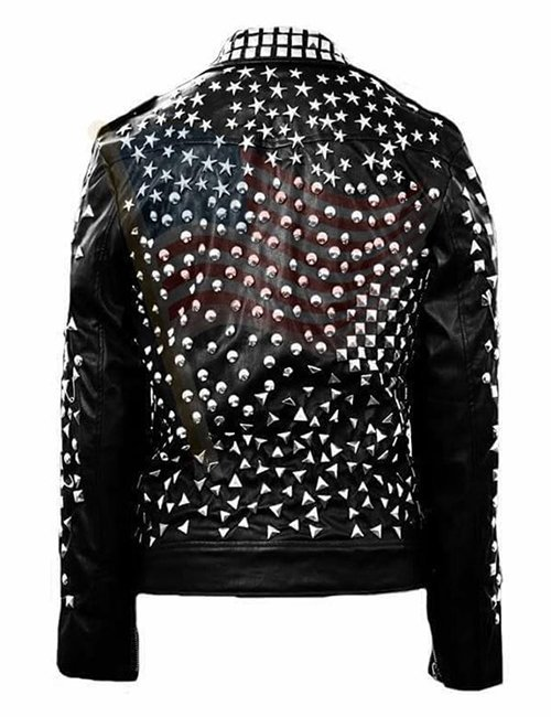 Mens Studded Punk Motorcylce Leather Jacket