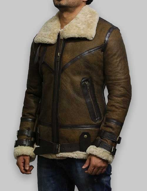 Men B3 Olive Brown Bomber Aviator Shearling Leather Jacket