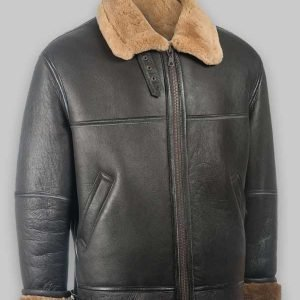 Men Black Shearling Jacket RAF Aviator Jacket