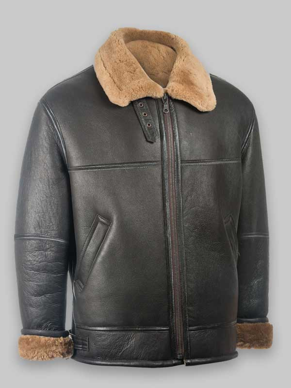 Men Black Shearling Jacket RAF Aviator Jacket