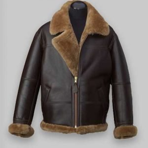 Men RAF Brown Avaitor Shealring Leather Jacket