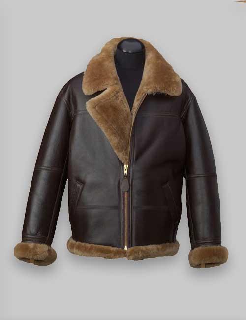 Men RAF Brown Avaitor Shealring Leather Jacket