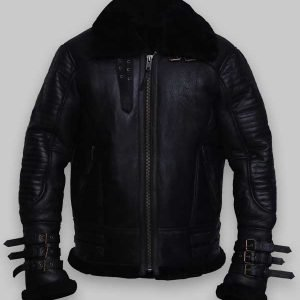 Men Black Shearling Sheepskin Biker Leather Jacket