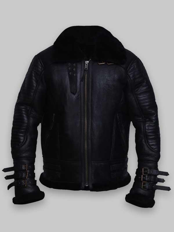 Men Black Shearling Sheepskin Biker Leather Jacket