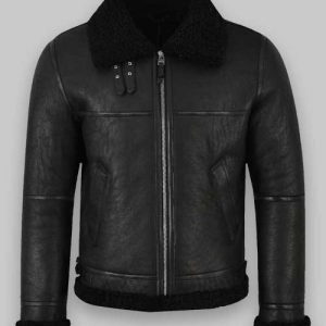 Men Jet Black Shearling Jacket