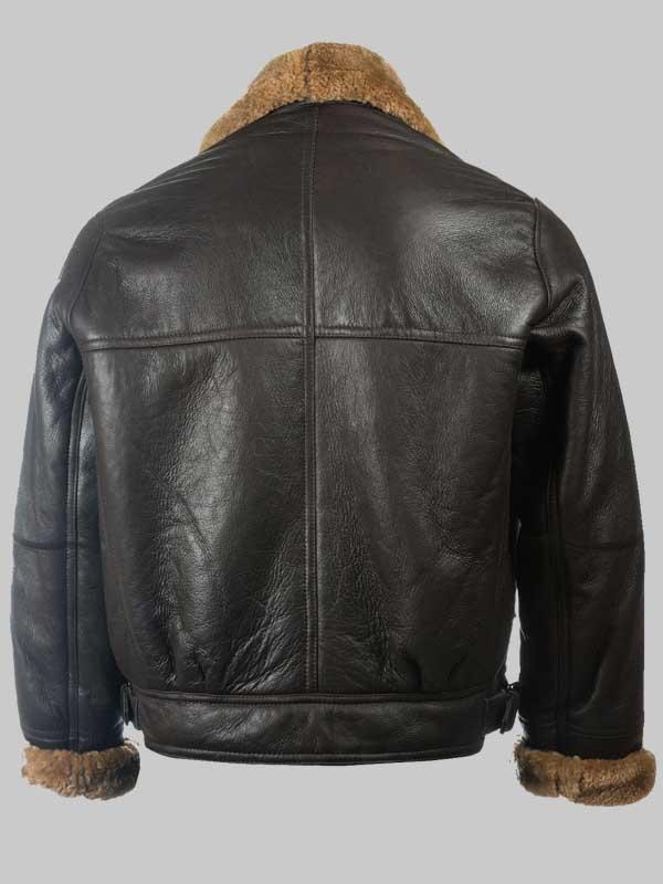 Men B3 Sheepskin Black Leather Jacket Shealring Jacket