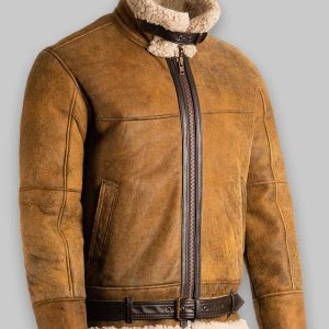 Men Brown B3 Fur Shearling Leather Jacket