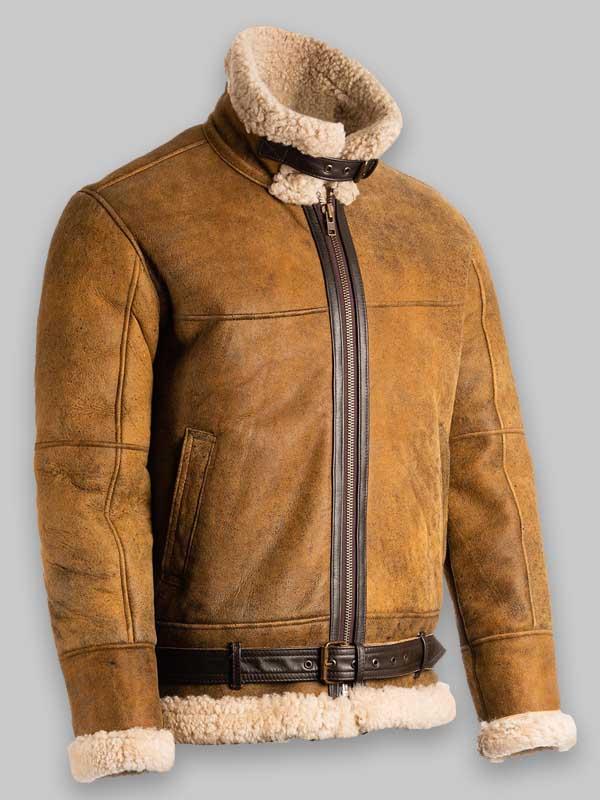 Men Brown B3 Fur Shearling Leather Jacket