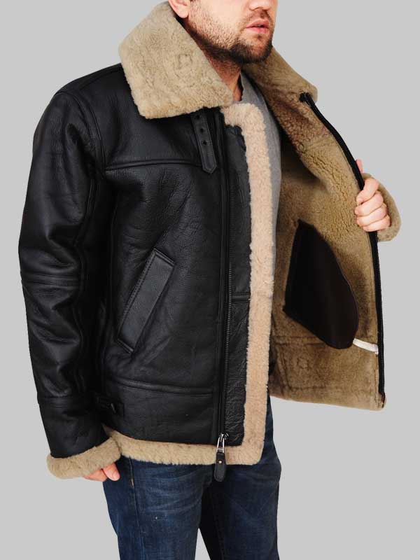 Men Black B3 Flying Aviator Shearling Leather Jacket