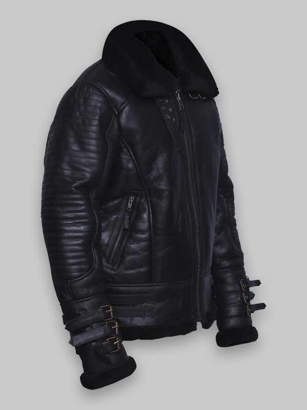 RAF Men's Avaitor Black Shearling Leather Jacket