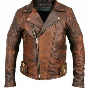 Rustic Vintage Quilted Men Brown Motorcycle Leather Jacket