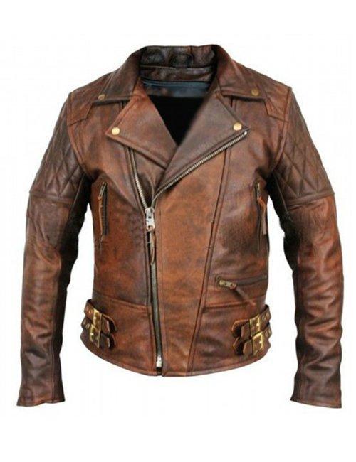 Rustic Vintage Quilted Men Brown Motorcycle Leather Jacket