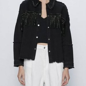 Killing-Eve-Villanelle-Black-Fringe-Denim-Jacket